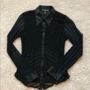 NWT Vivienne Tam Black Button Down Sheer Top